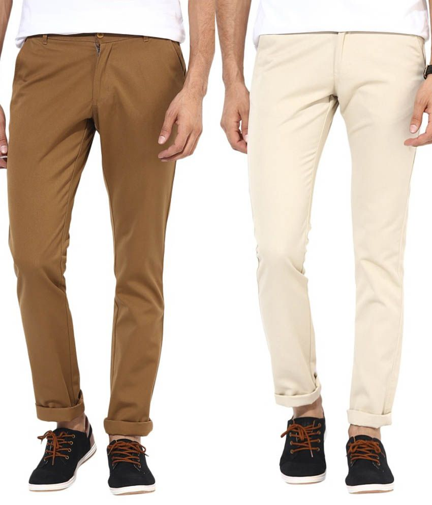 Bukkl Combo Of Cream And Brown Slim Fit Casual Chinos