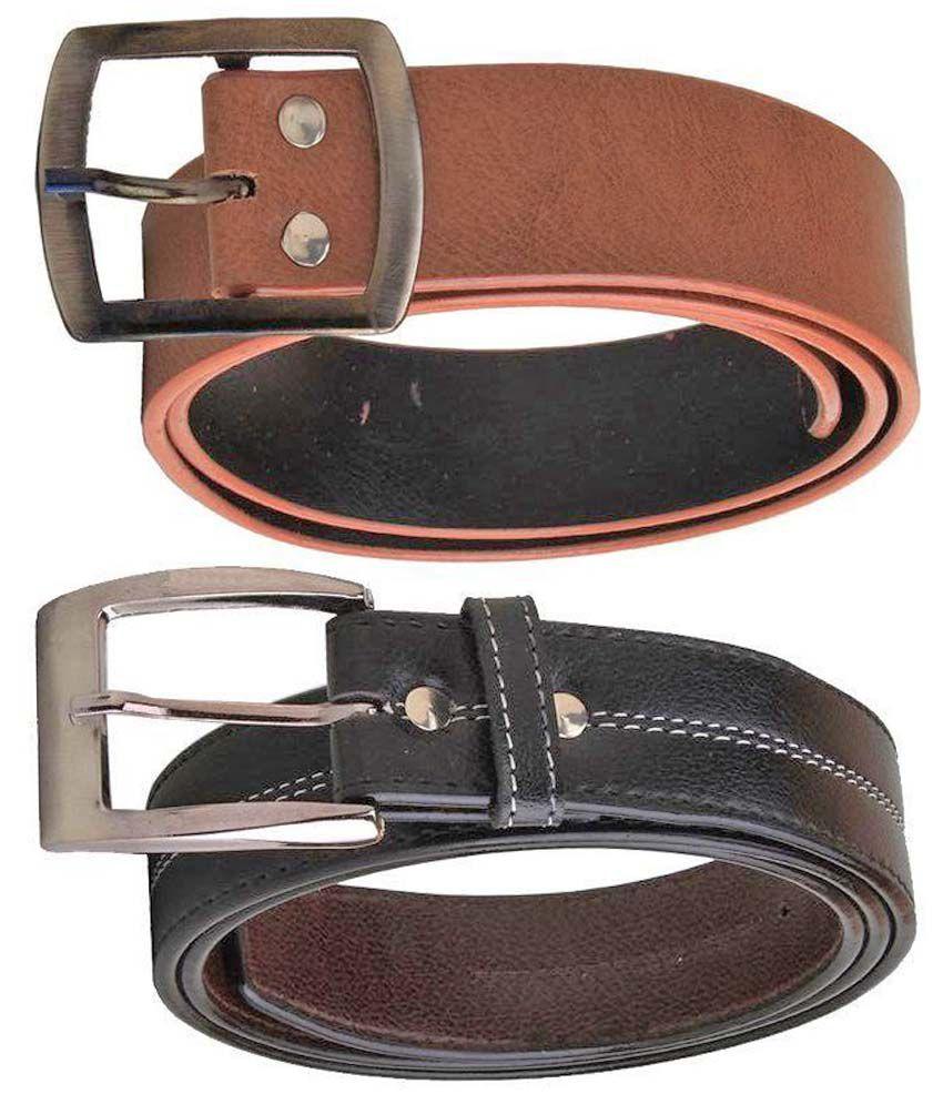Elligator Brown And Black Casual Single Belt - Set of 2