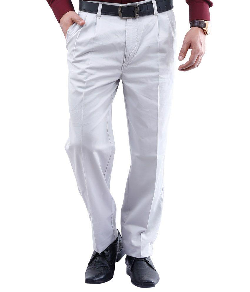 Lamode White Regular Fit Casual Chinos Trouser