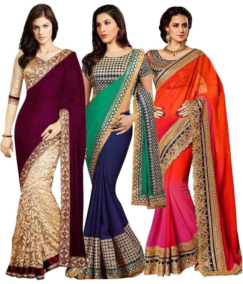 jagdamba textiles Multicolour Velvet Pack of 3