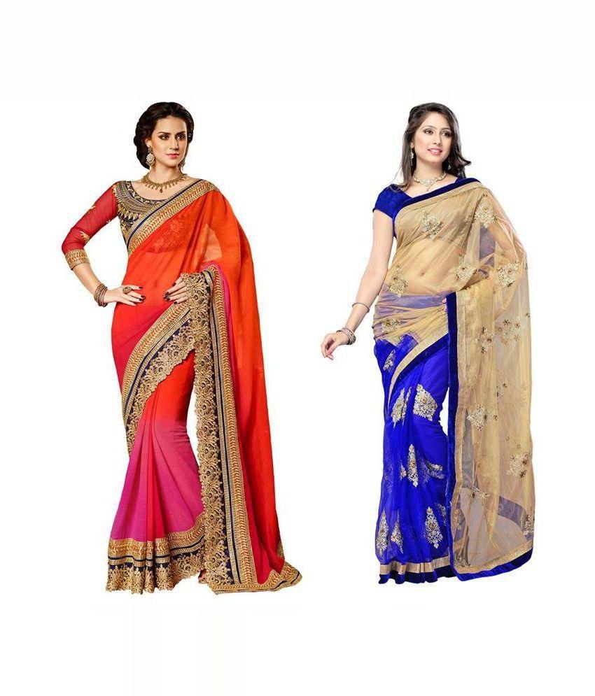 jagdamba textiles Multicolour faux Georgette Pack of 2