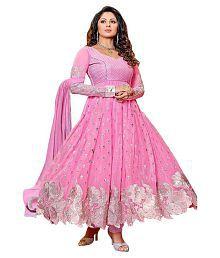 Exclusive Designer Pink Georgette Anarkali Semi Stitched Suit