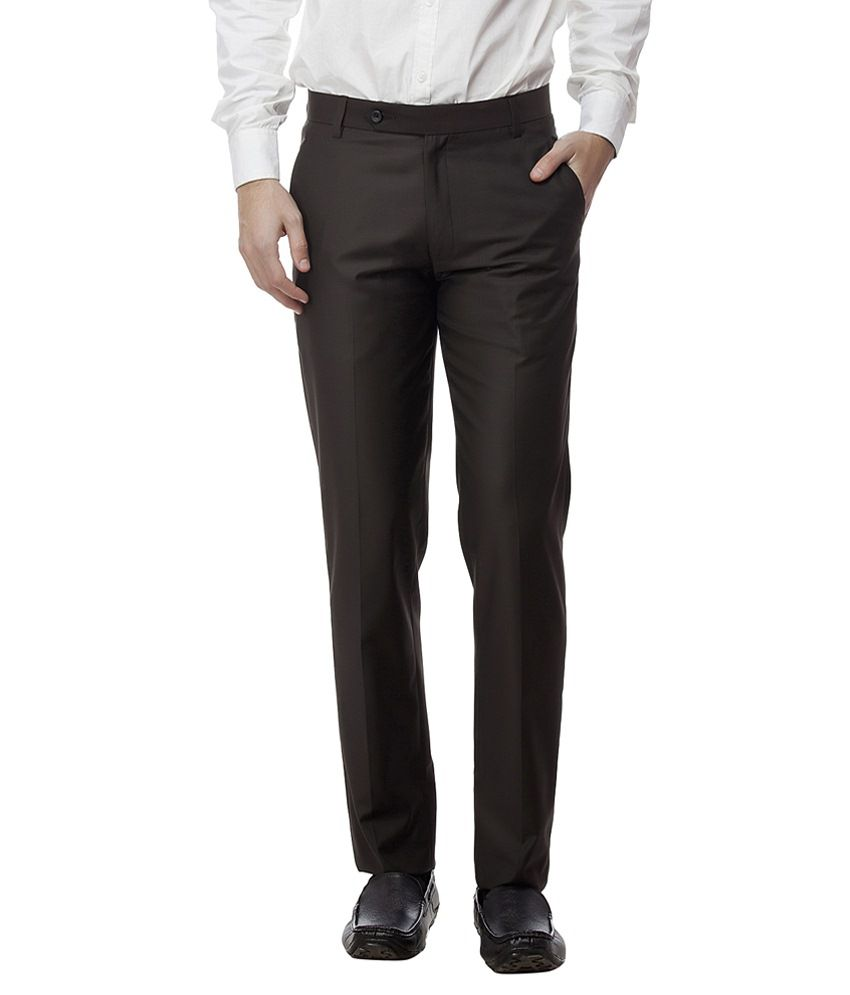 Divini Brown Slim Fit Formal Flat Trouser