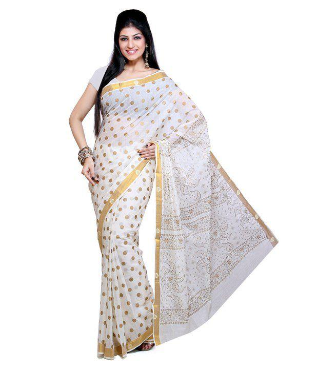 Fashionkiosks White and Grey Kasavu Cotton Kerala Traditional Saree