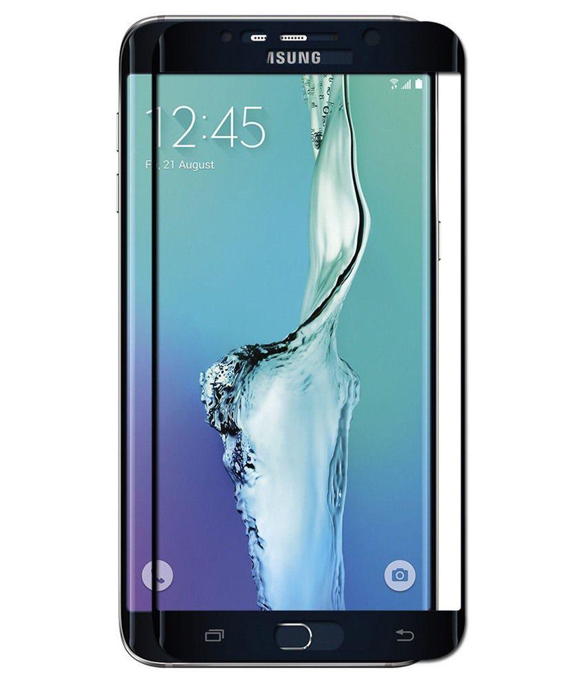 Samsung Galaxy S6 Edge Plus - Black Tempered Glass Screen Guard by PraIQ