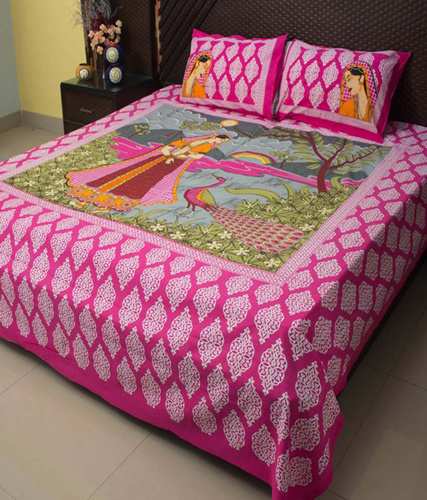 Bed sheets with price - Ramabhakta Patch Cotton Bed Sheets With 2 Pillow Covers