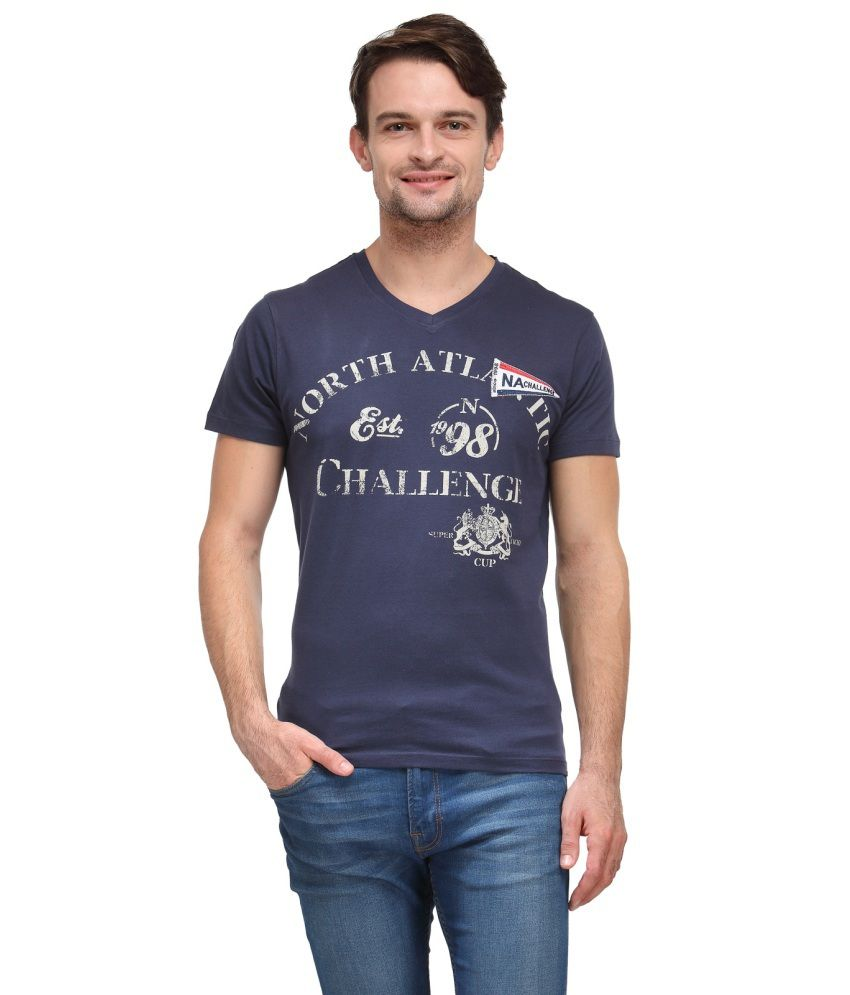 Wear Your Mind Navy Blue Cotton T Shirt