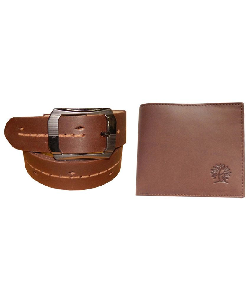 Ansari Combo Of Brown Casual Single Belt And Wallet