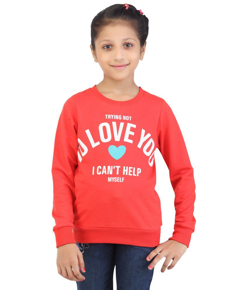 Life Youth Coral Printed Cant Help Myself Cotton Blend Sweatshirt