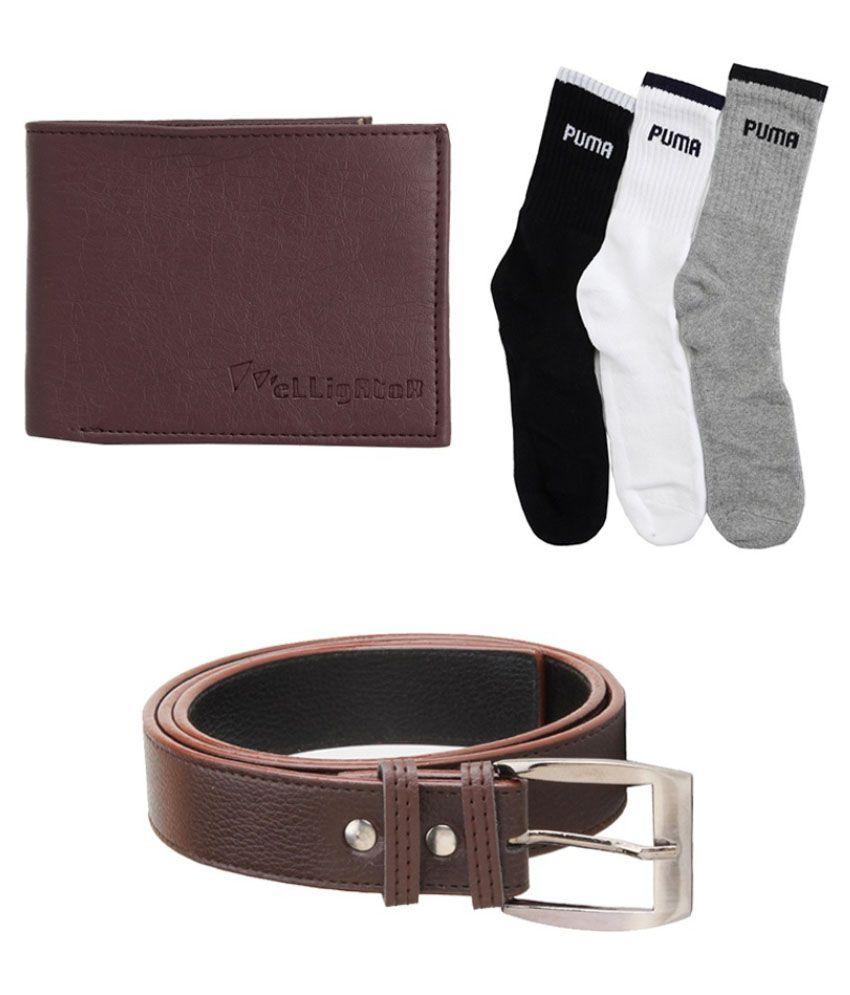 Elligator Brown Formal Belt With Wallet And Socks