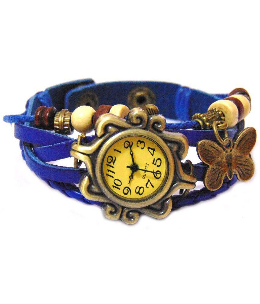 Exit Blue Leather Analog Watch
