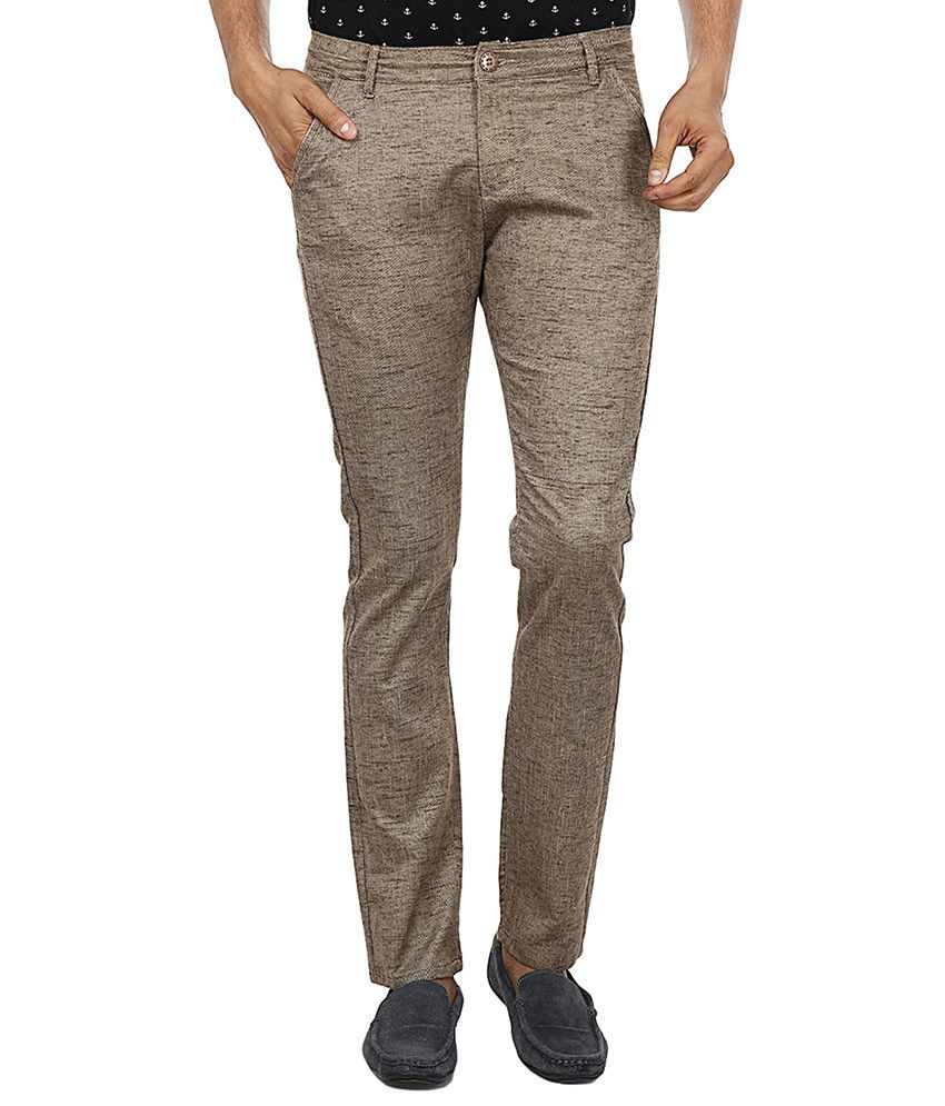 Fever Beige Slim Fit Casual Chinos