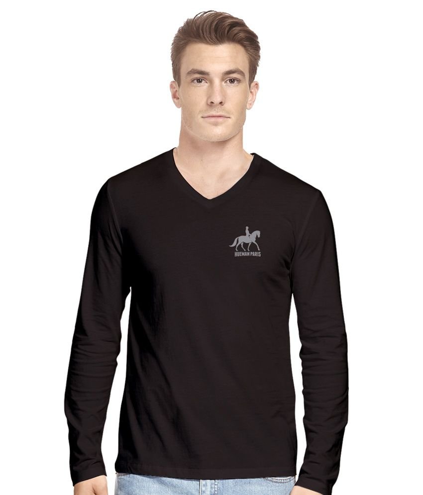 Hueman Black Cotton T-Shirt