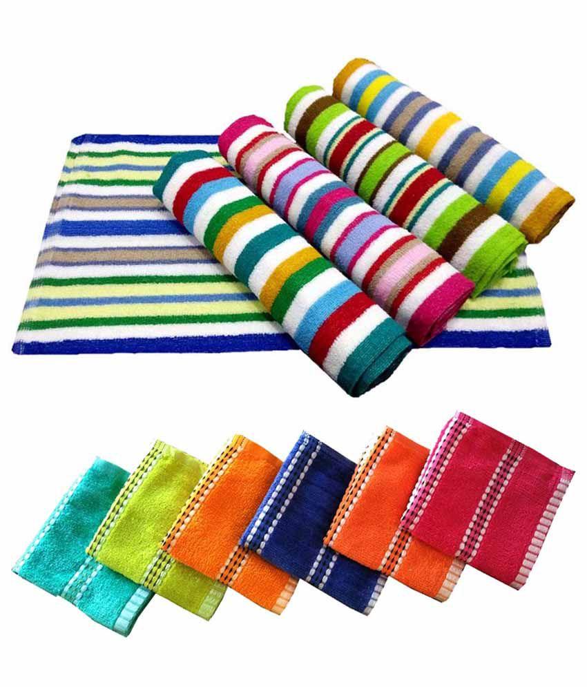 Milap Multicolour Cotton Towel - Set Of 11