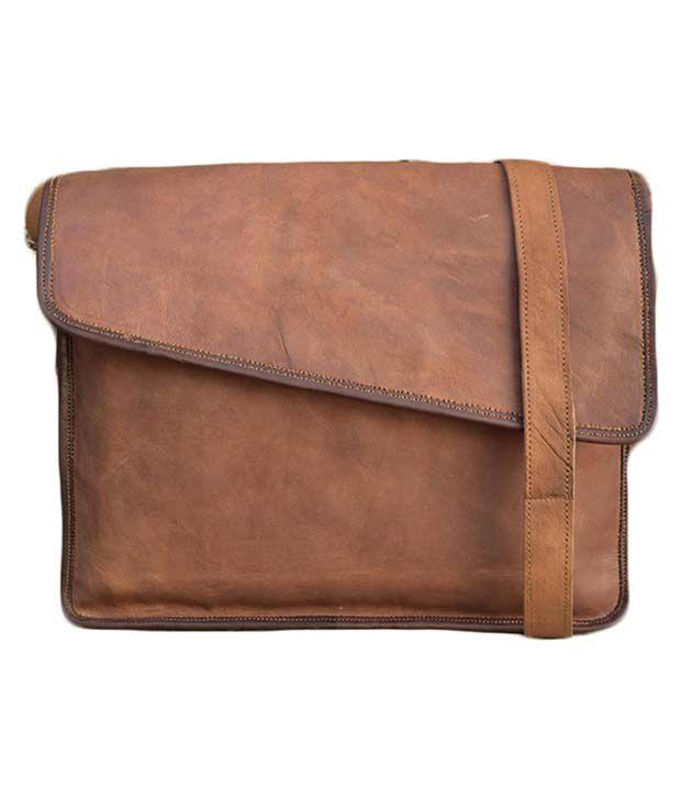 Nkvintage Leather Brown Office Bag