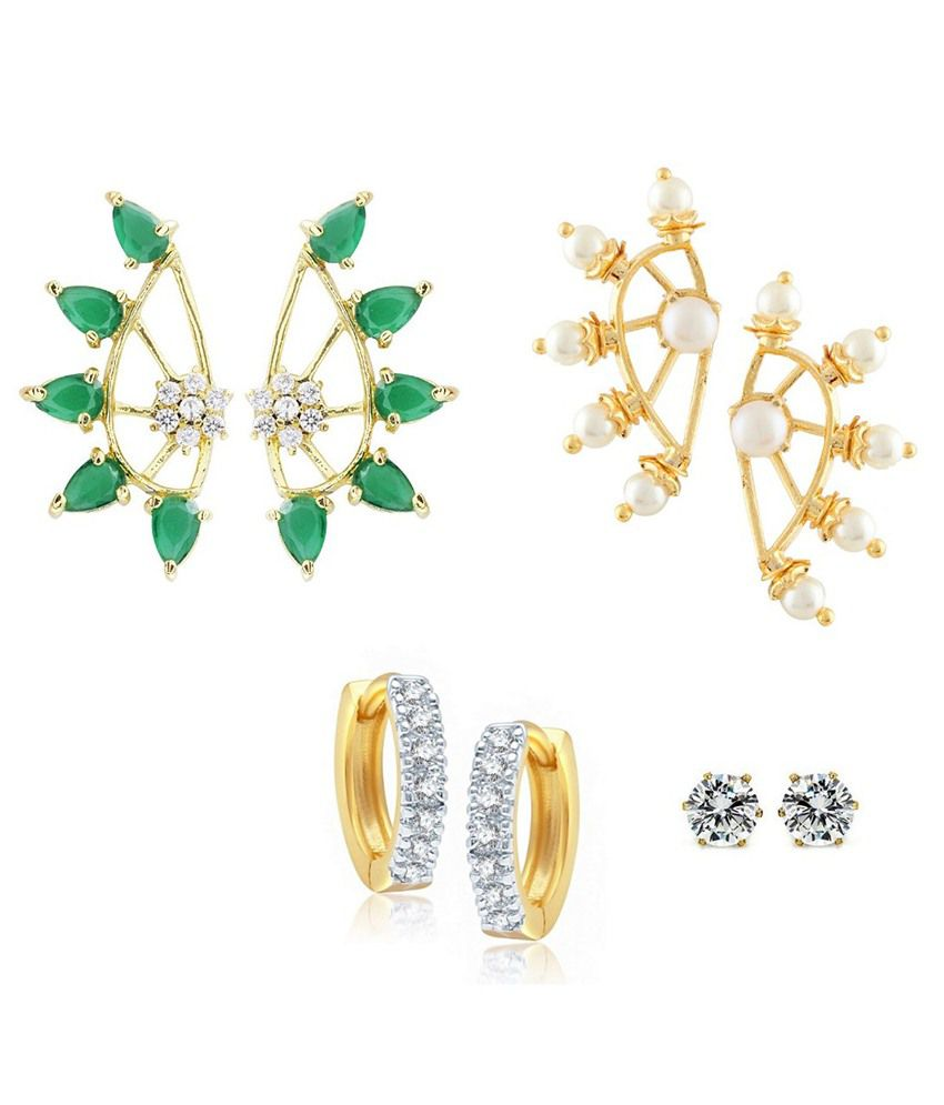 Parijaat Combo Of Designer Gold Plated 2 Cz Cuff Earrings, Huggie Earrings & Solitaire Earrings