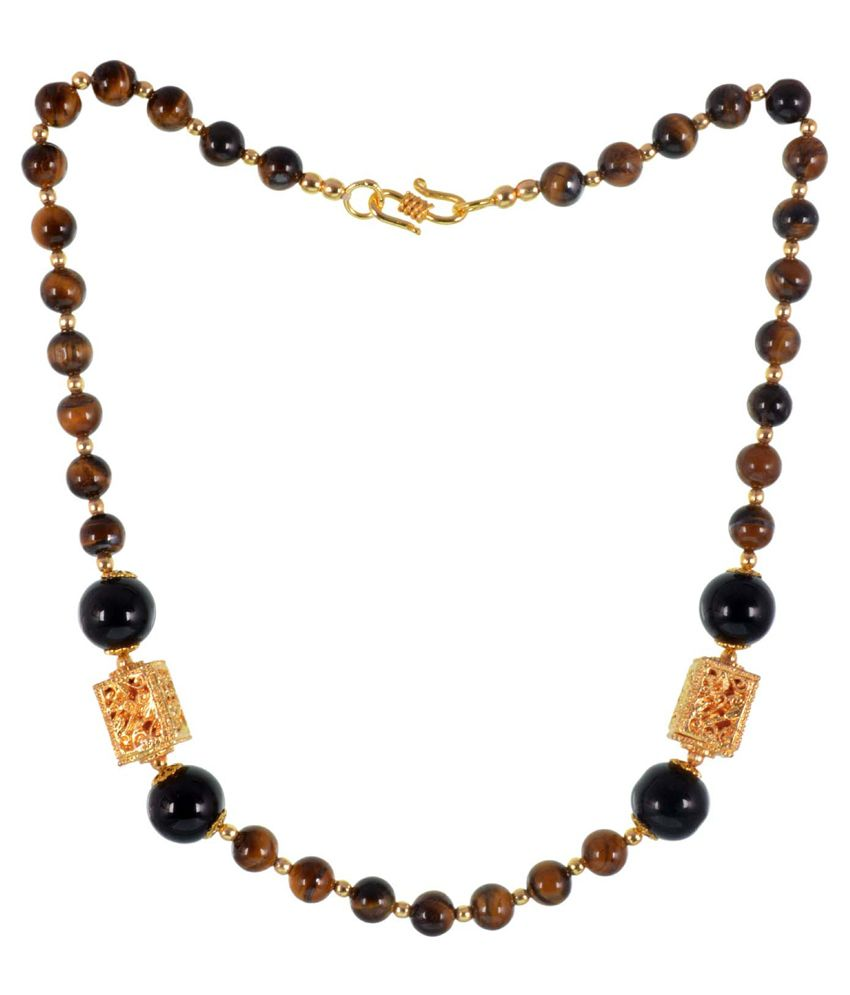 GEMS TREASURE Semi Precious Tiger Eye And Black Oynx Necklace