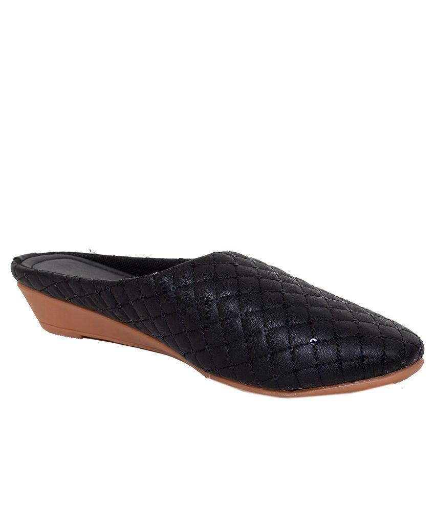 Sona Footwear Black Heeled Slip Ons