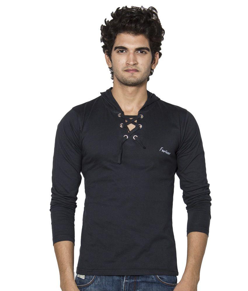 Stylogue Black Cotton Hooded T-shirt