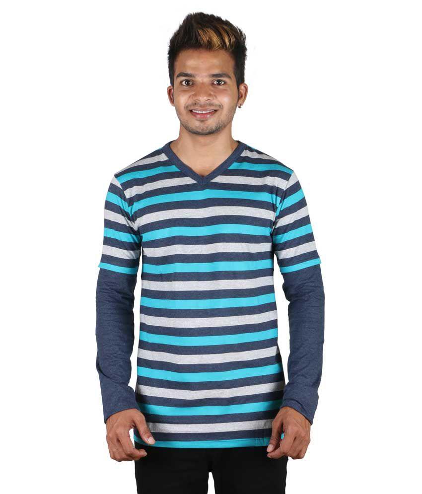 Tree Blue Cotton T-shirt