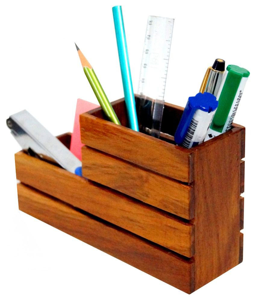 Design Lab Wooden Pen HolderDesk Organizer