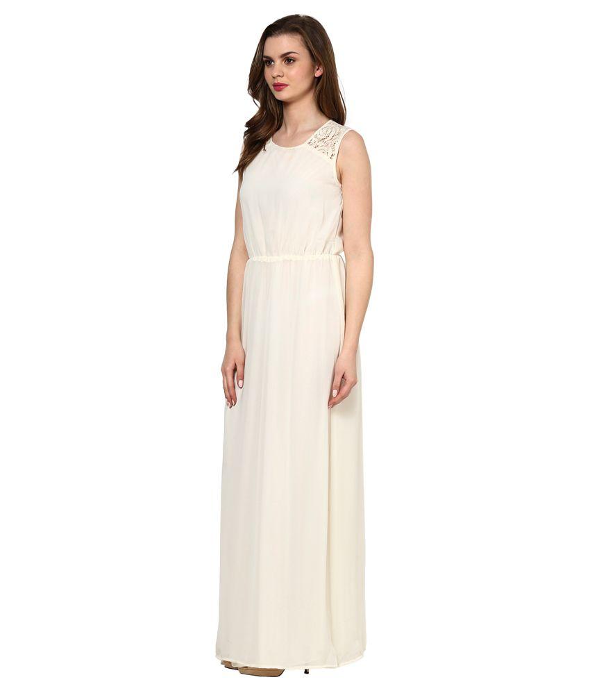 La Zoire White Georgette Maxi Dress - Buy La Zoire White Georgette ... c0d5fa1c90f9