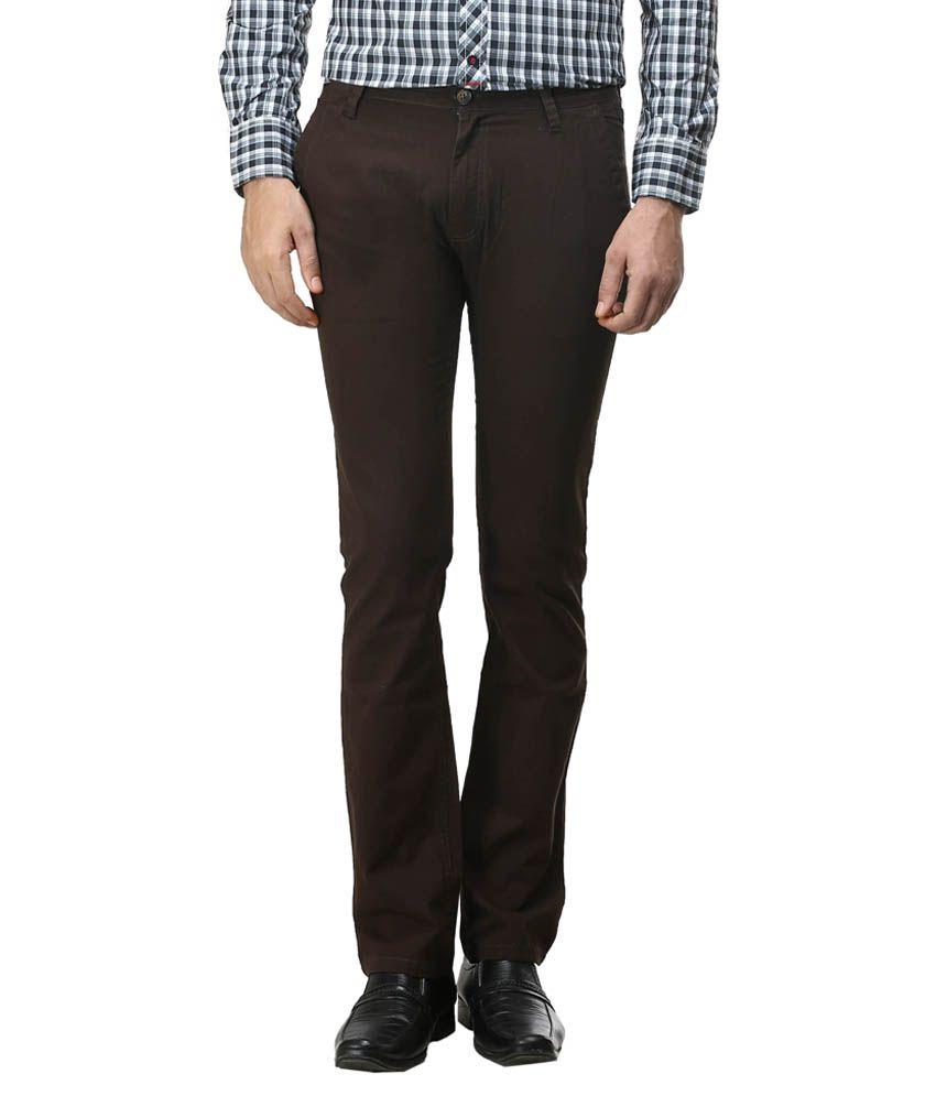 Blumerq Brown Slim Fit Casual Flat Trouser