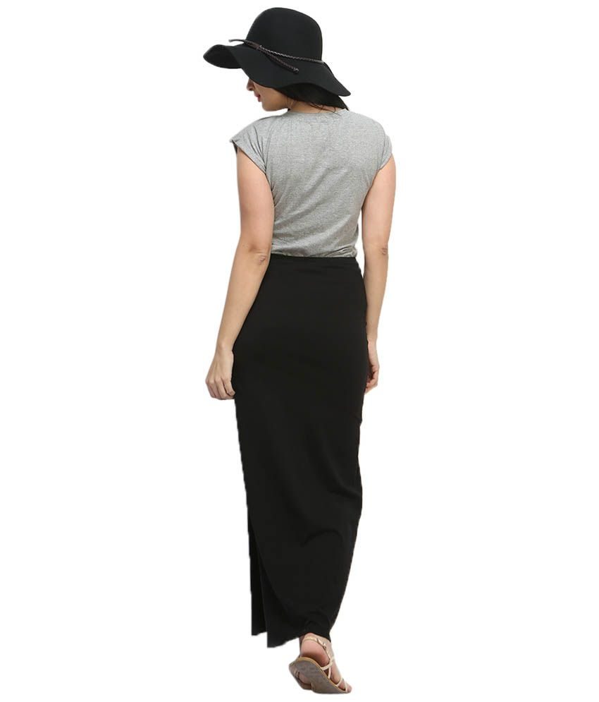 Buy FabAlley Black Solid Side Slit Free Flare Cotton Maxi Skirt ...