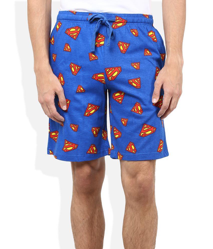 Superman Blue Printed Shorts
