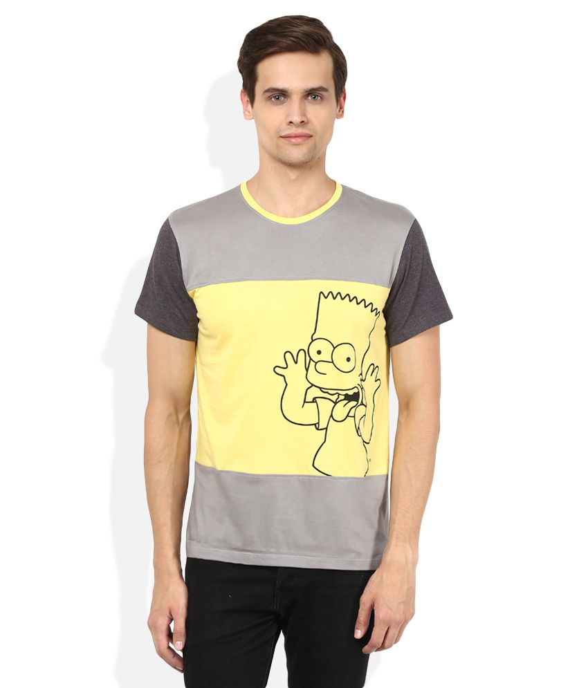 The Simpsons Grey Printed T-Shirt