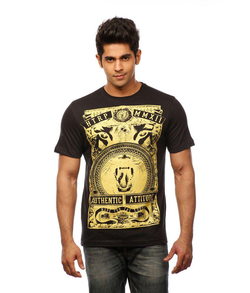 Huetrap Black Cotton Authentic Attitude Heraldic Print T-shirt