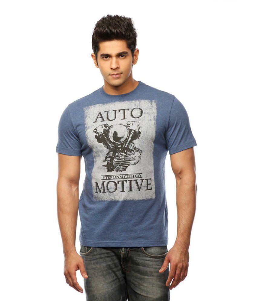 Huetrap Blue Cotton Automotive Style Casual Printed T-shirt