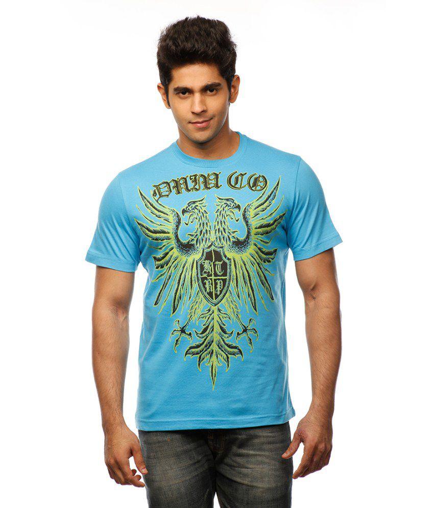 Huetrap Blue Cotton Heraldic Mural Printed T-shirt