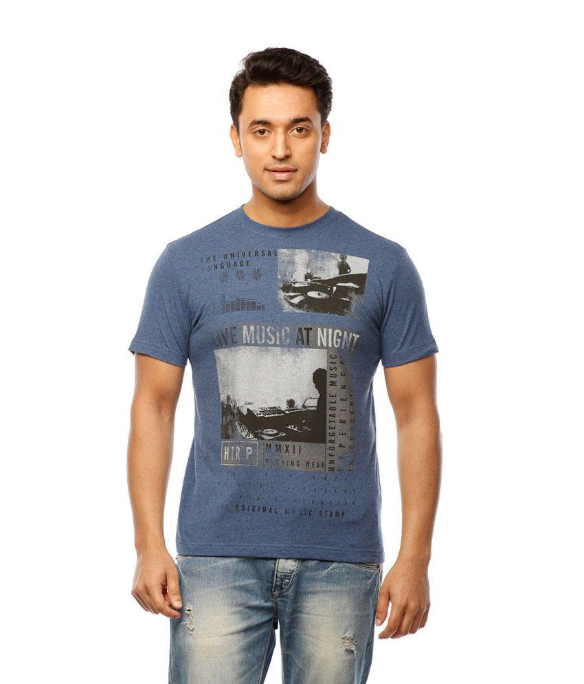 Huetrap Blue Cotton Live N Love Music Casual T-shirt
