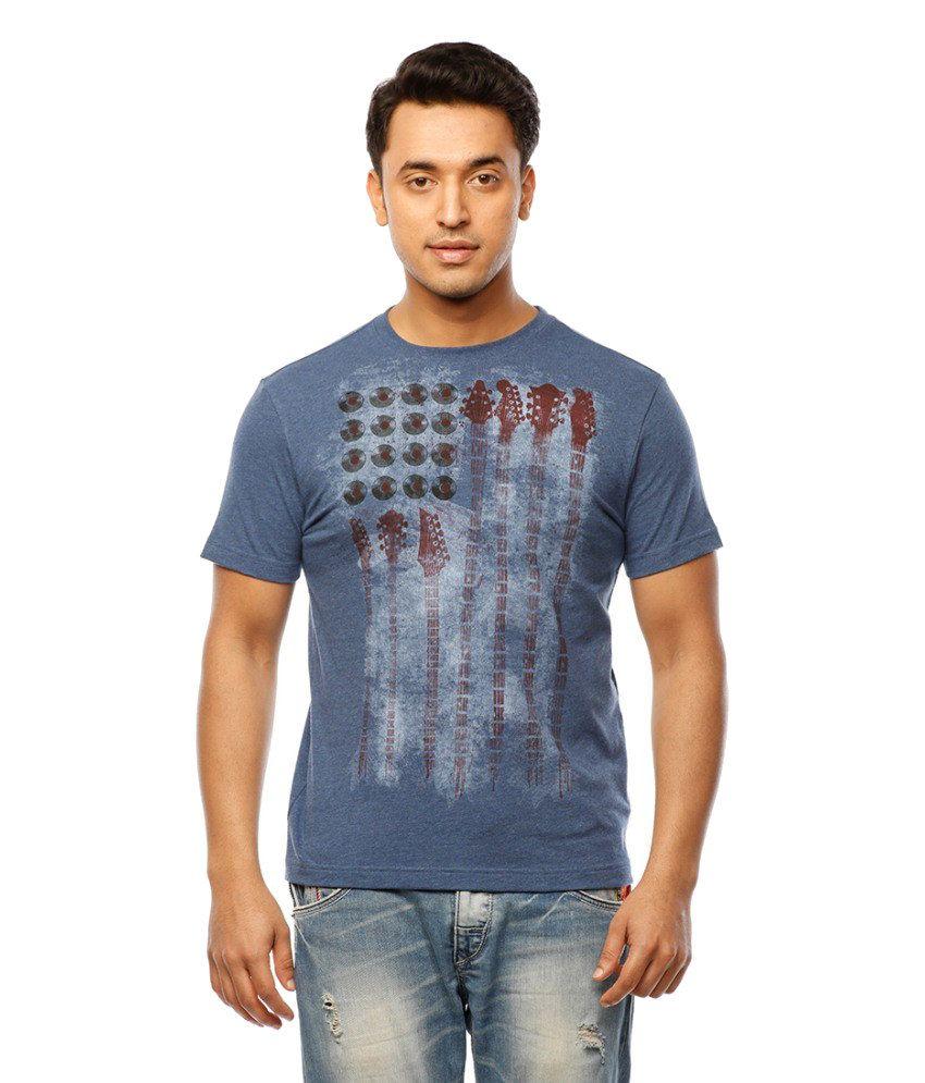 Huetrap Blue Cotton Musical Beats Printed Casual T-shirt