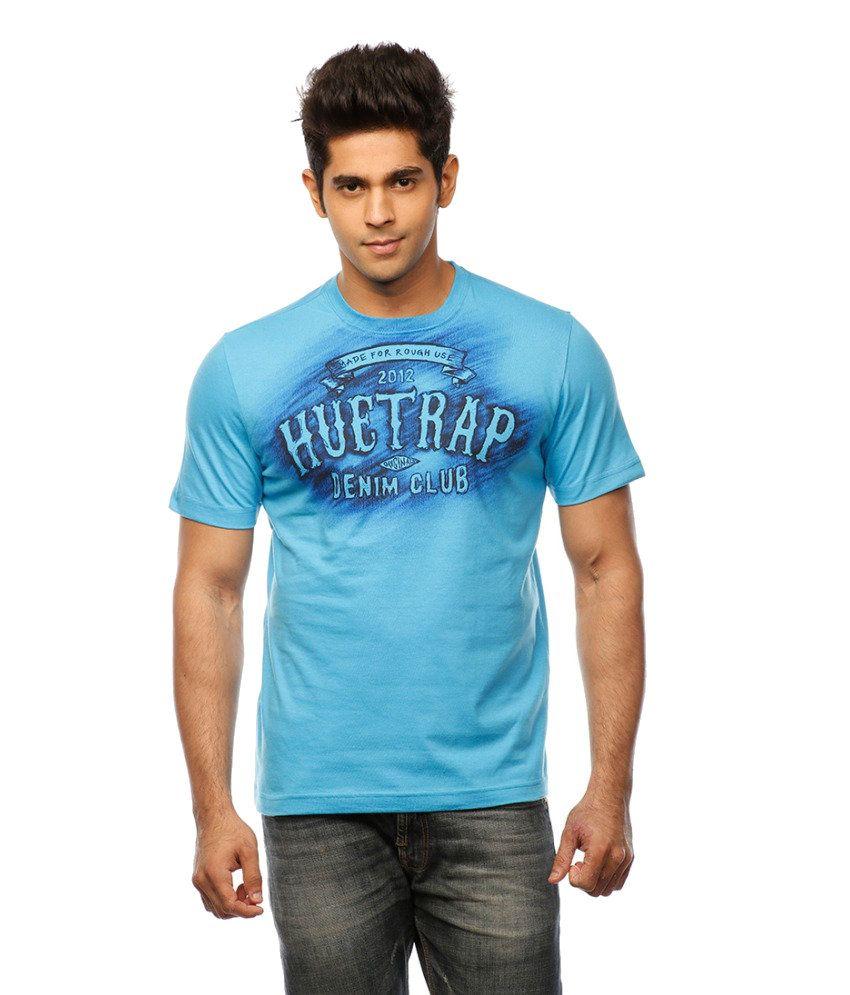 Huetrap Blue Cotton Super Fine Casual T-shirt