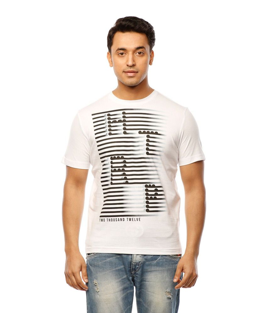 Huetrap White Cotton Brand Code Casual T-shirt