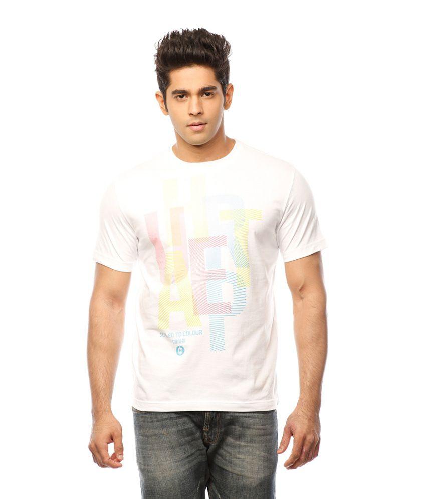 Huetrap White Cotton Colours Over Casual T-shirt