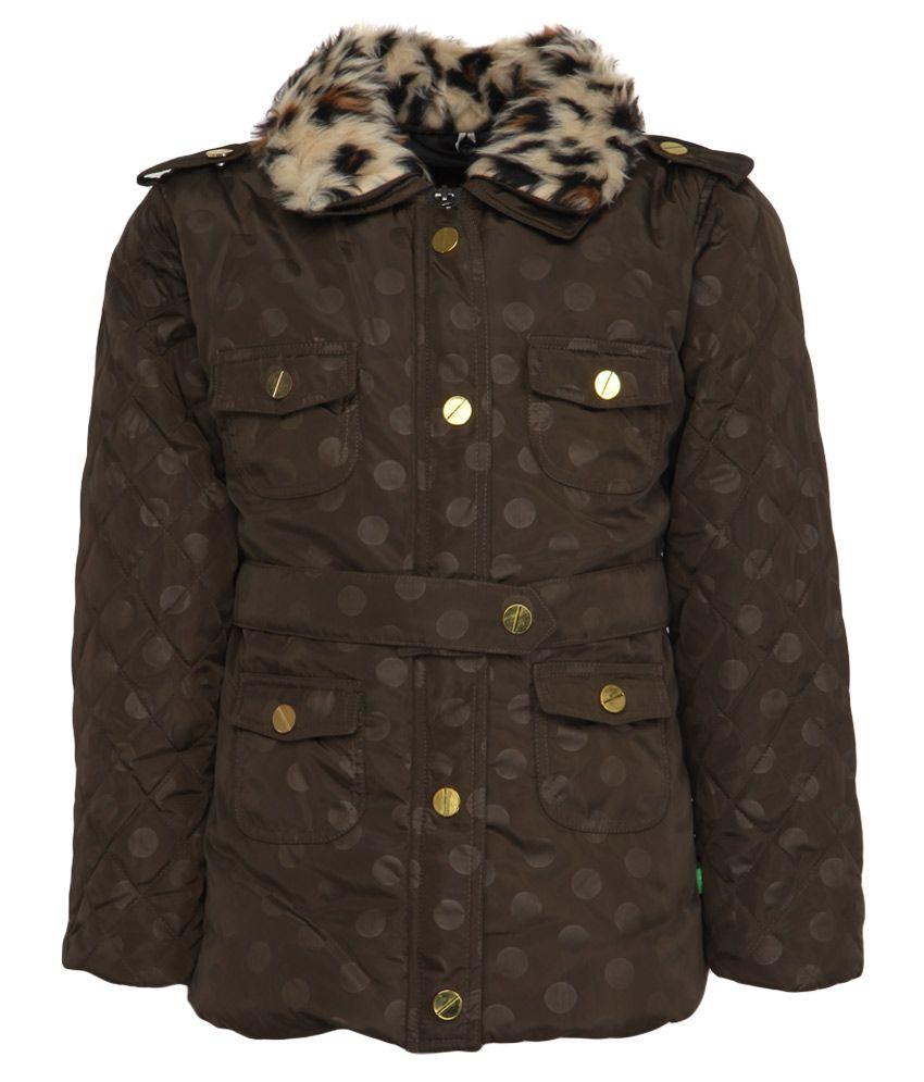 Little Kangaroos Brown Full Sleeves Without Hoods Jacket