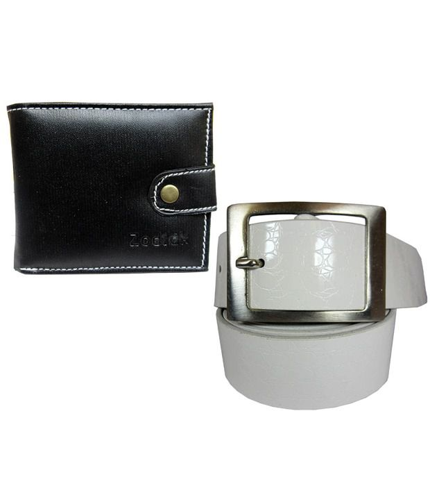 Apki Needs White Casual Belt With Wallet For Men