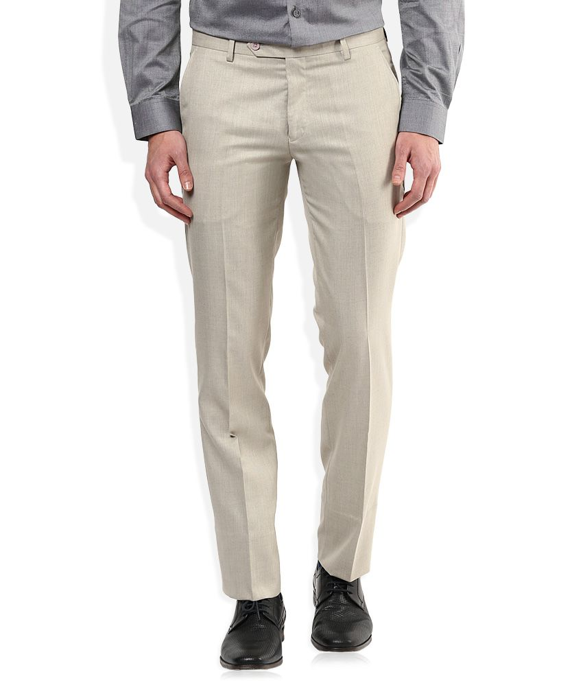 John Players Beige Slim Fit Pleated Trousers