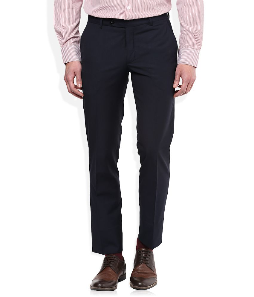John Players Navy Blue Slim Pleated Trouser