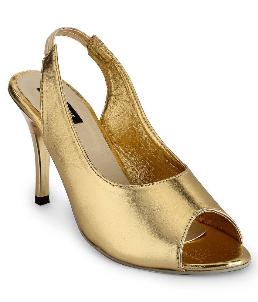 A Click Away Golden Kitten Heels