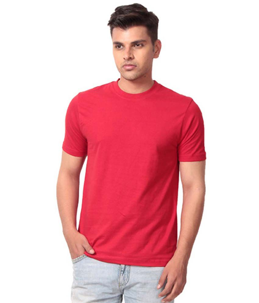 Cotton Collection Red Cotton Round T-shirt