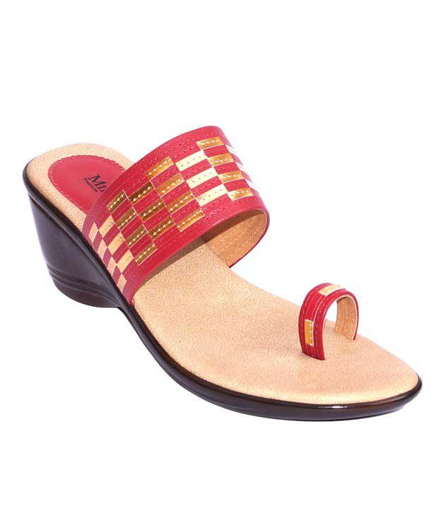 Mmelange Red Wedges Heels