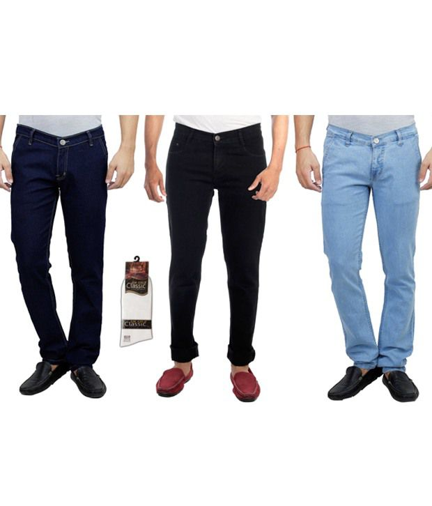 Haltung Multicolor Cotton Men's Jeans Combo Of 3 With Free 1 Pair Of Assorted Socks