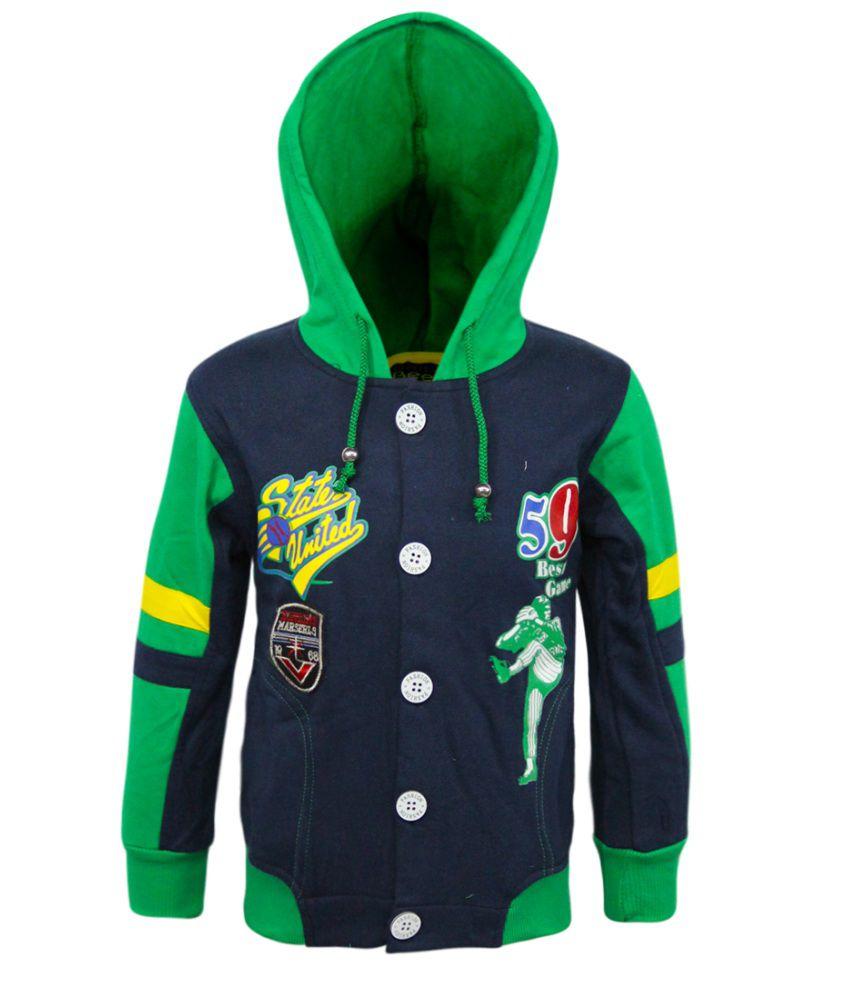 Kothari Navy Blue And Green Full Sleeves Fleece Sweatshirt