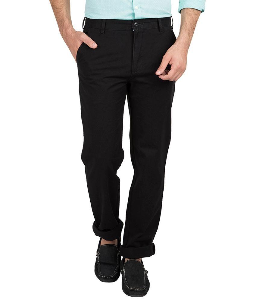 British Club Black Slim Fit Casual Flat Trousers