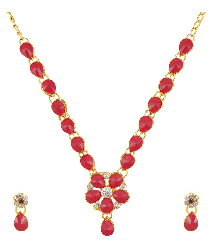 Dancing Girl Red Alloy Necklace Set