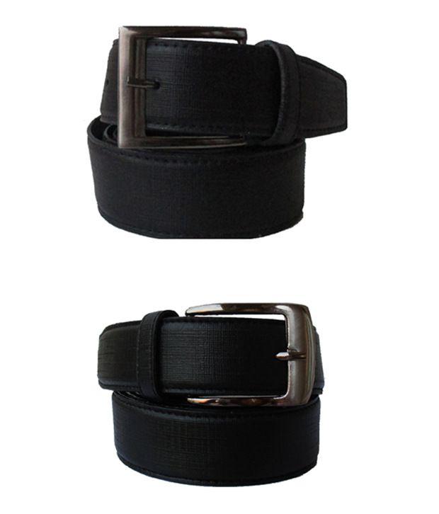 Klaska Combo of 2 Genuine Faux Leather Black Belts